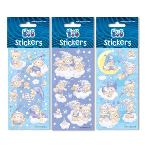 STICKERS TEDDY BEARS 7X18 GLITTER